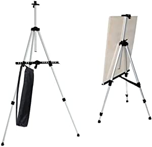 """Art Easel Amzdeal 23.6""""- 63.7"""" Easel Stand Potable a1 a2 a3 Canvas Easel Tripod Display, for Kids and Adults, Table-top and Floor, with Carrying Bag, Aluminum, Silver"""
