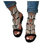 Dainzusyful - Sandalias planas para mujer con punta abierta y tacón bajo