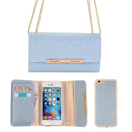 Price comparison product image FuriGer iPhone 8 Plus Card Holder Case,  iPhone 8 Plus Case Protective Credit Card Holder Slot with Detachable Magnetic Back Phone Purse for Girls Women for iPhone 8 Plus-Blue