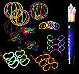 BUYDEAL Glow Sticks Party Favor-Including 100 Assorted Color Glowsticks,6 Pairs of Glow Glasses ,3 pcs Hairband,Flowers,Balls and Bracelets with Connectors