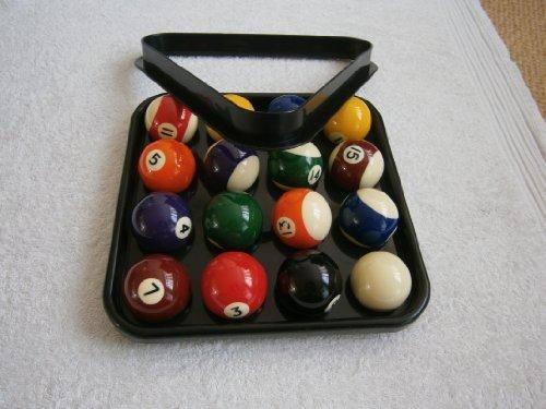 Spots & Stripes 2' pool ball set , plastic triangle & black plastic tray to carry balls