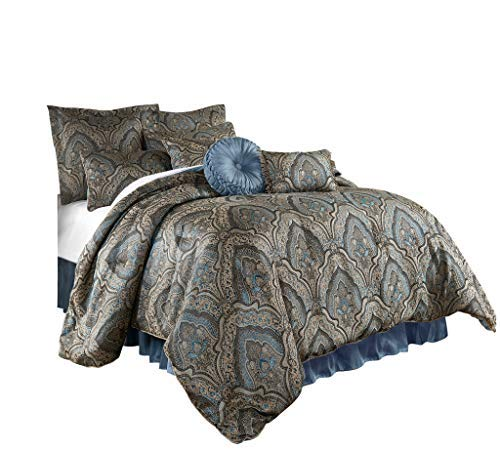 Chezmoi Collection Seville 9-Piece Jacquard Blue Gold Medallion Paisley Comforter Bedding Set Queen Size