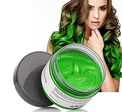 Temporary Green Hair Color Wax, Efly MOFAJANG Instant Hairstyle Cream 4.23 oz Hair Pomades Hairstyle Wax for Men and Women (green)]()