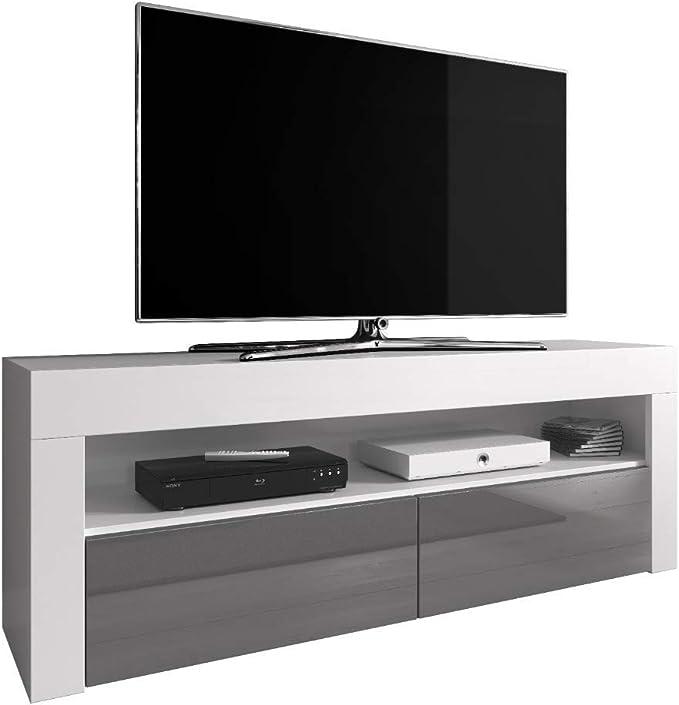 E-com Luna - Mueble para televisor (140 cm, Parte Frontal de Color Blanco Mate), Color Gris Brillante: Amazon.es: Juguetes y juegos