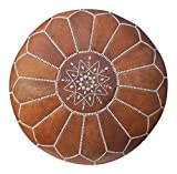 Bohemia Design Beautiful Handmade Real Moroccan Tan Leather Footstool Pouf Pouffe Poof Ottomans from Marrakech | Colour Tan with White Stitching | Delivered unstuffed
