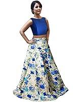 Market Magic World Woman's and Girl's Blue Banglori Silk Semi stitched Free Size Lehengha Choli (Ghaghra Choli, Chaniya Choli)
