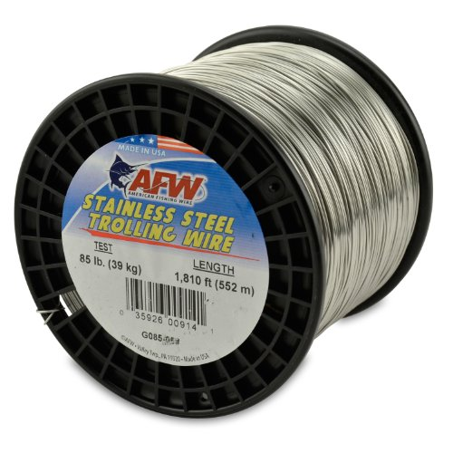 American Fishing Wire Stainless Steel Trolling Wire, 85-Pound Test/0.81mm Dia/551m