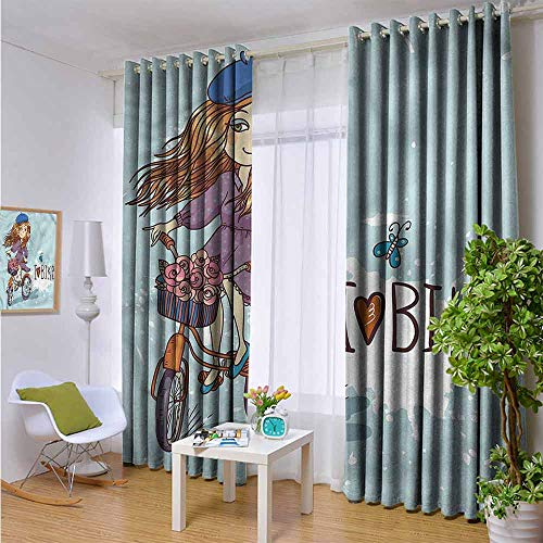 Price comparison product image hengshu Kids Blackout Curtains - Gasket Insulation Cartoon Girl with Bike Blackout Curtains for The Living Room W96 x L96 Inch