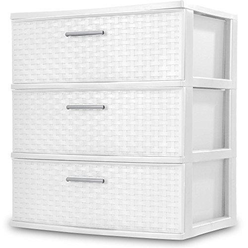 (Sterilite 3 Drawers Wide Weave Tower Plastic Storage Organization- White (White) (Wide Drawer))