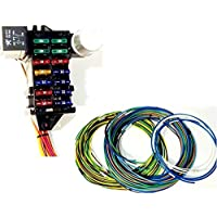 Street Rod Universal 14 Fuse 12-14 Circuit Wire Harness w- FR/RR Lt Wiring