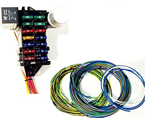 Street Rod Universal 14 Fuse 12-14 Circuit Wire Harness w- FR/RR Lt Wiring by Bait Shop Street Rods