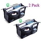 2 Pack Magik Travel Insert Handbag Purse Large Liner Organizer Tidy Bags Expandable 13 Pocket Handbag Insert Purse Organizer with Handles