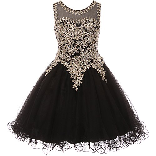 Little Girls Gold Trimmed Corset Back Closure Wired Tulle Skirt Flower Girl Dress Black - Size 4