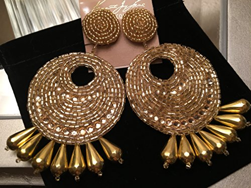Kenneth Jay Lane Jewelry Gold Metallic Seed Bead Large Gypsy Disc Beaded Clip Earring