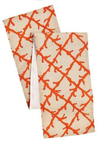 Cotton Craft - Corals Jute Table Runner - 13x72 - Coral on Ivory Jute - Perfect accessory to dress up your dinner table - Spot Clean Only (Orange Table Runner compare prices)