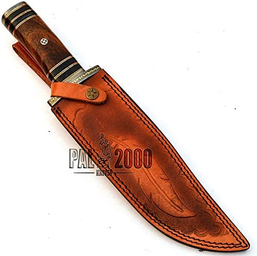 PAL 2000 KNIVES Handmade Damascus Steel Knife with Sheath 14 Inches Beautiful Rose Wood Handle New Pattern Fixed Blade Full Sharp Edge 9688