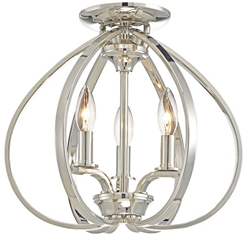 Minka Lavery 4983-613 Minka Transitional Three Light Semi Flush Mount from Tilbury Collection in Chrome, Pol. Nckl.Finish, 14.00 Inches 14.00 (Minka Chrome Ceiling Fan)