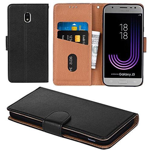Galaxy J3 Pro 2017 Case, Aicoco Flip Cover Leather, Phone Wallet Case for Samsung Galaxy J3 Pro 2017 - Black