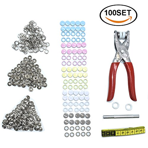 Sale!! Renashed 100 set Grommets Kit Snap Fastener Tool Metal Eyelets Shoes Clothes Crafts with Heav...