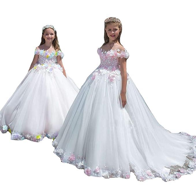 MerryGirl Apliques de Encaje niña de Las Flores Vestido de Hombro Primeros Vestidos de comunión: Amazon.es: Ropa y accesorios