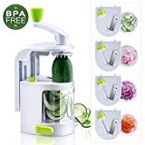 Spiralizer 4-Blade Vegetable Slicer, TOBOX Small Professional Vegetable Spiralizer, Zucchini Noodle & Veggie Pasta & Spaghetti Maker with Powerful Suction Base for Healthy Low Carb