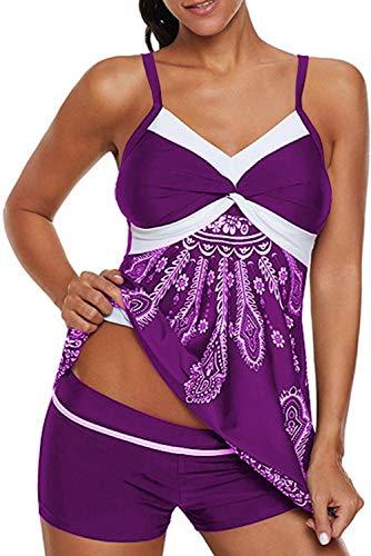 Dearlove Womens Retro Printed Strappy Two Piece Tankini Sets Slimming Bathing Suit Tummy Control Swimsuit Swimwear with Shorts Purple Medium