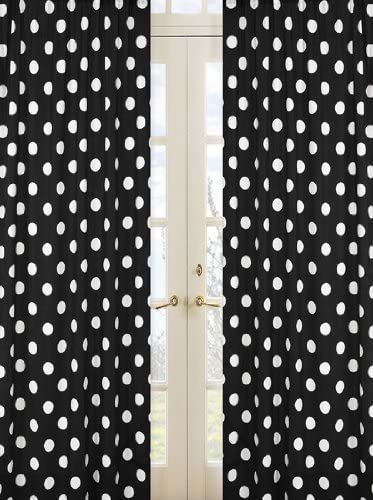 ArtOFabric Decorative Cotton Polka Dot Curtain Panel 58 x84 White Polka on Black