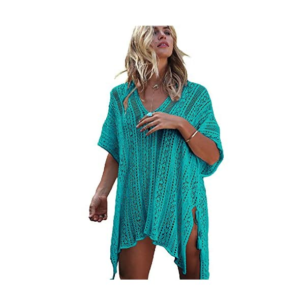 a87be7b9be Chilly Jilly Bohemian Crochet Swim Cover up Bikini Tunic Beach Dress with Side  Tie Tassels. Published July 17, 2018 | By westend. 🔍. $17.99 ...