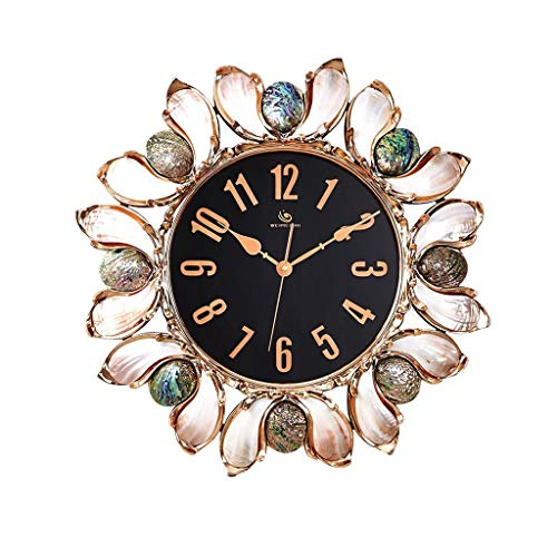 LUHEN Wall Clock Personality Creative New Zealand Imported of Abalone Pink Gold European Mosaic of Luxury Large Wall Clock 20 cm Wall Mirror (Color : Gold) ()