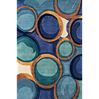 Momeni Rugs NEWWANW133BLU2030 New Wave Collection, 100% Wool Hand Carved & Tufted Contemporary Area Rug, 2 x 3, Blue