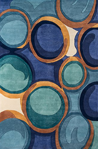Rugs Contemporary Wave Collection Area - Momeni Rugs NEWWANW133BLU5380 New Wave Collection, 100% Wool Hand Carved & Tufted Contemporary Area Rug, 5'3