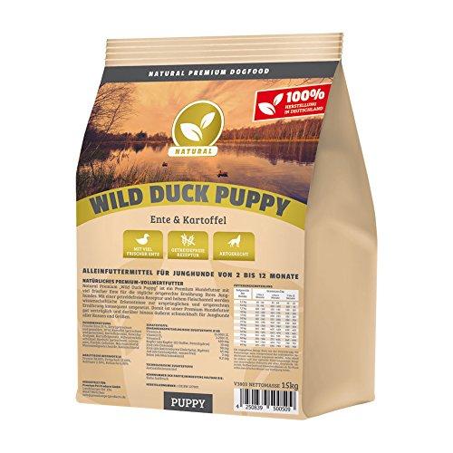 Hundeland Natural | Wild Duck Puppy | 1 kg | Ente + Kartoffel | getreidefreies Hundefutter | Trockenfutter für alle Hunderassen | viel frisches Fleisch | artgerecht & besonders gut verträglich