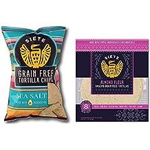 Siete Grain Free Tortilla Chips Sea Salt (5 ounce) & Siete Almond Flour Tortillas, 8 count