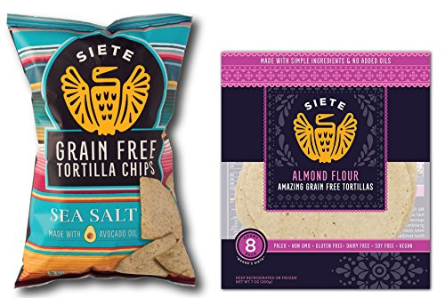 Siete Grain Free Tortilla Chips Sea Salt (5 ounce) & Siete Almond Flour Tortillas, 8 count