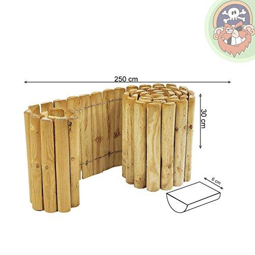 Beetumrandung Rasenkante aus Holz Rollboarder 30 cm hoch 250 cm lang von Gartenpirat®