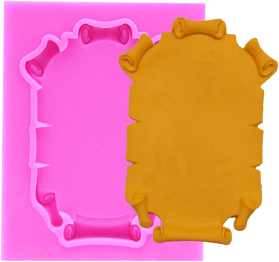 4 St/ück Henan Silikonform f/ür Fondant f/ür Schokolade Barock-Rahmen Polymerton