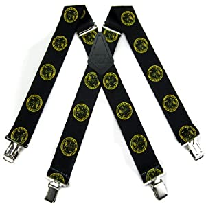 Black - Gold US Army Strong Mens Suspenders - Made in the USA