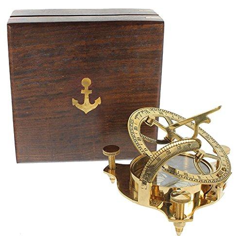 5MOONSUN5's Captain Brass Sundial Compass with Hardwood Wooden Box 4''