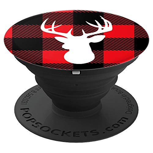 Deer Red Plaid Silhouette - PopSockets Grip and Stand for Phones and Tablets
