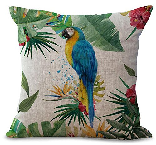 Hand-painted Tropical Flowers And Birds Parrot Plant Christmas Gift Cotton Linen Decorative Throw Pillow Case Cushion Cover Square 18
