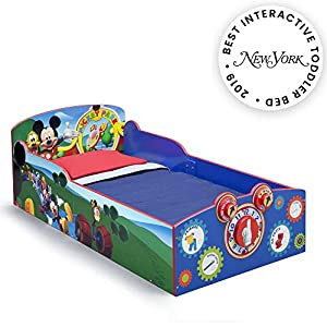Delta Children Interactive Wood Toddler Bed, Disney Mickey Mouse  with Twinkle Stars Crib & Toddler Mattress 10