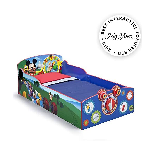 Delta Children Interactive Wood Toddler Bed, Disney Mickey Mouse  with Twinkle Stars Crib & Toddler Mattress 1