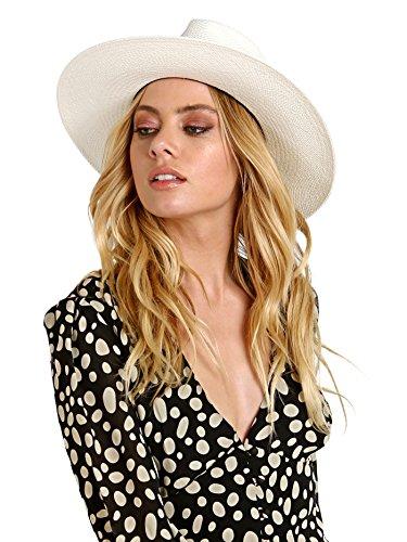 Janessa Leone Women's Aisley Short Brimmed Panama Hat, Bleach, Medium by Janessa Leone