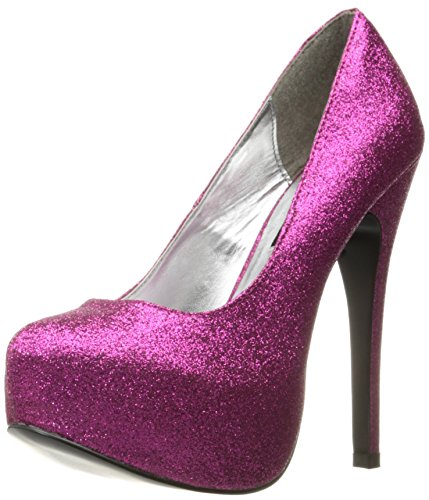 The Highest Heel Women's Kissable Pump,Fuschia Glitter Polyurethane,8 M US -