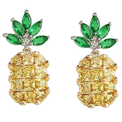 Sterling Silver Cubic Zirconia Fruit Theme Yellow Pineapple Clip on Earrings for Girls Women Non Pierced ()