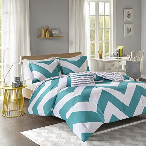 Mi Zone Libra Comforter Set Full/Queen Bedding Sets   Teal, Chevron   4  Piece Teen Bed Set   Ultra Soft Microfiber Bed Comforter