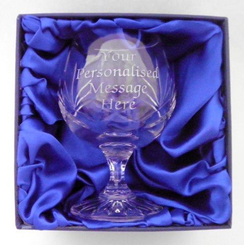 Crystal Brandy Glass Personalised Engraved In Gift Box Lapal Dimension