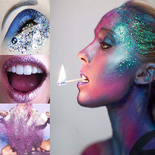 Holographic Chunky Glitter 12 Boxes Face Body Eye Hair Nail Festival Different Size and Colors Powder Glitter Mixed Paillette Sparkles Tips