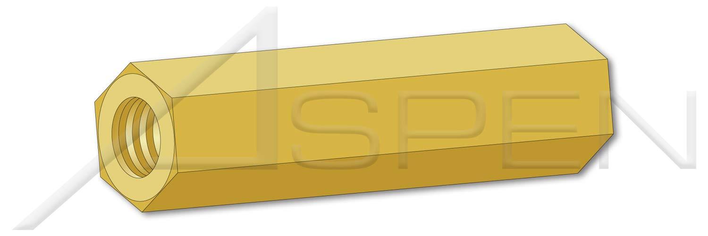 (125 pcs) #8-32 X 9/16'', Hex Female Standoffs, 1/4'' Across Flats, Brass