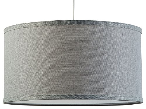 Messina One Light Drum Pendant Lamp Heather Gray Shade With Chrome Canopy Linea Di Liara LL P719 HG